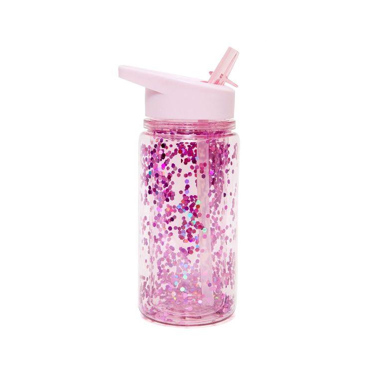 Drickflaska rosa med glitter