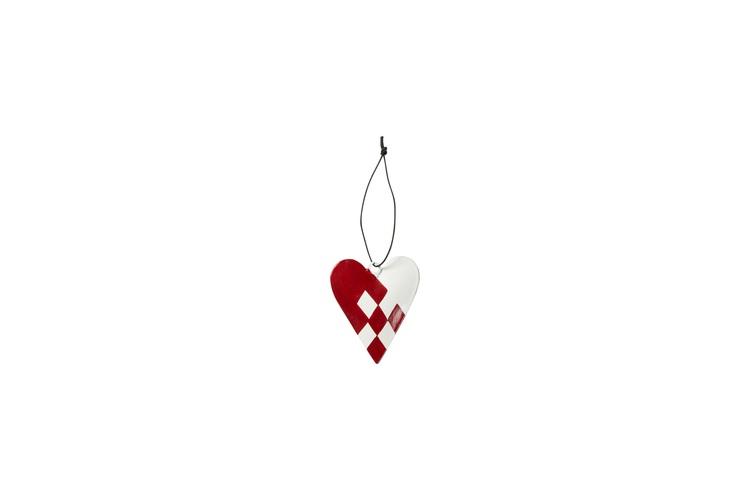Flätat hjärta i rött/vit