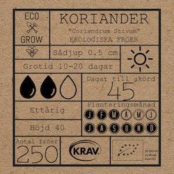 Koriander, Eko + Kravmärkt