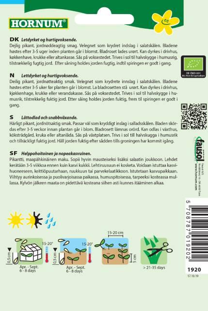 Ruccola (EKO) -Hornum frø