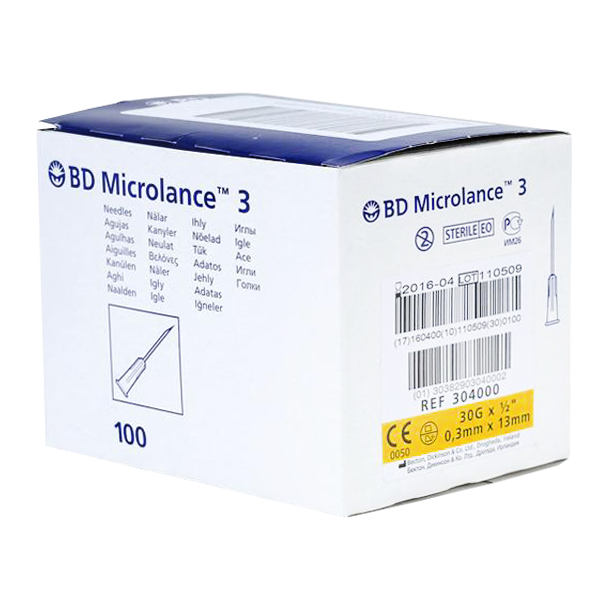 BD Microlance 3 Inj.kanyl 30G 0,3x13 mm 1x100 st