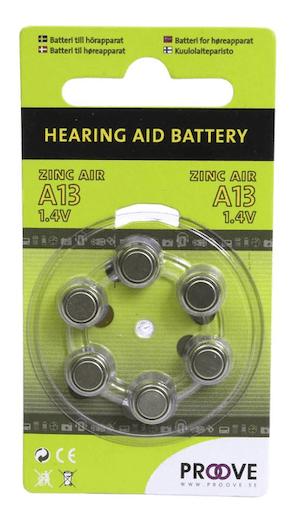 Batteri till hörapparat Proove, Zinc Air A13, 1.4V