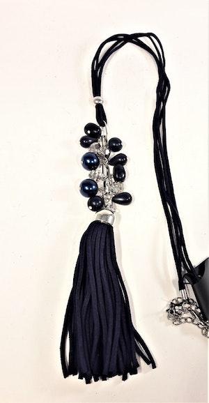 Långt halsband med läderrem med pärlor och tofs i mörkblått