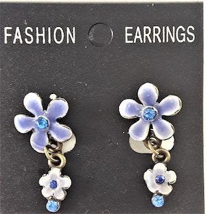 Emaljerat, blått örhänge i form av blomma med liten blomma och strass