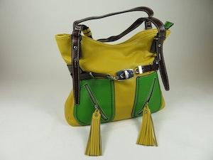 Snygg väska i sandgult och grönt från Charmant of Sweden