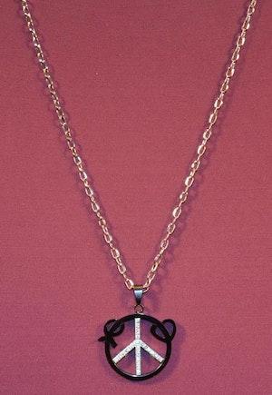 Halsband med Fredstecknet Guldfärg, Vit och Svart