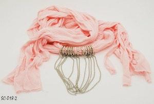 Scarf rosa med kedjedetalj