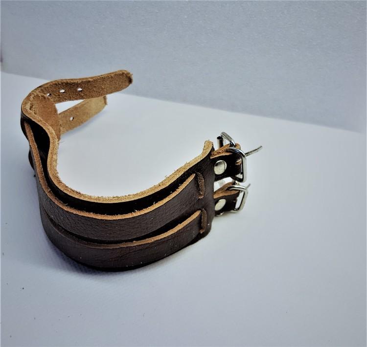 Brett Armband Brunt Läder