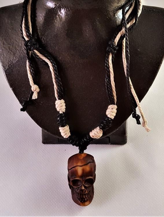 Halsband med Dödskalle Brun