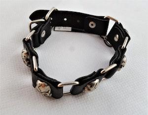 Armband Läder med Länkar och Dödskallar Metall