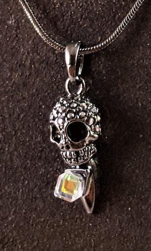 Halsband med glittrande dödskalle och sten grå