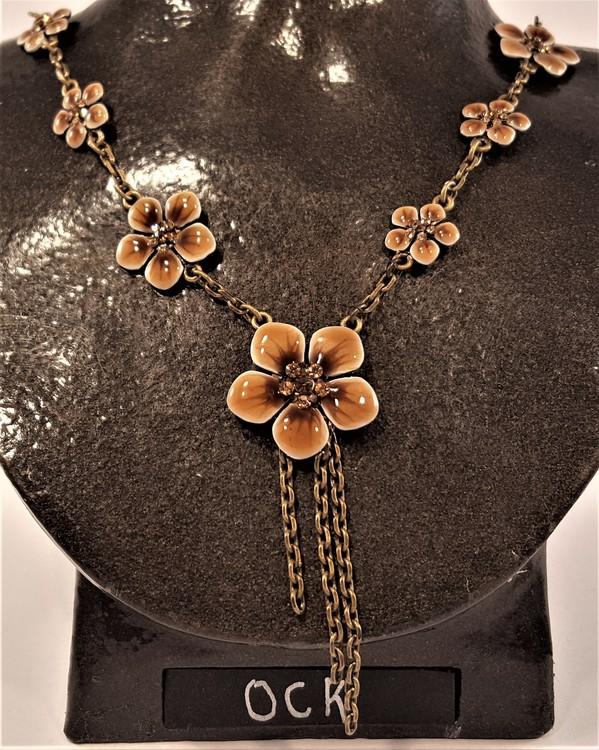 Halsband med Detaljer av Blommor Brun