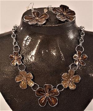 Set med halsband och örhänge i brunt