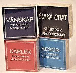 Sällskaps- och placeringskort, 4 varianter