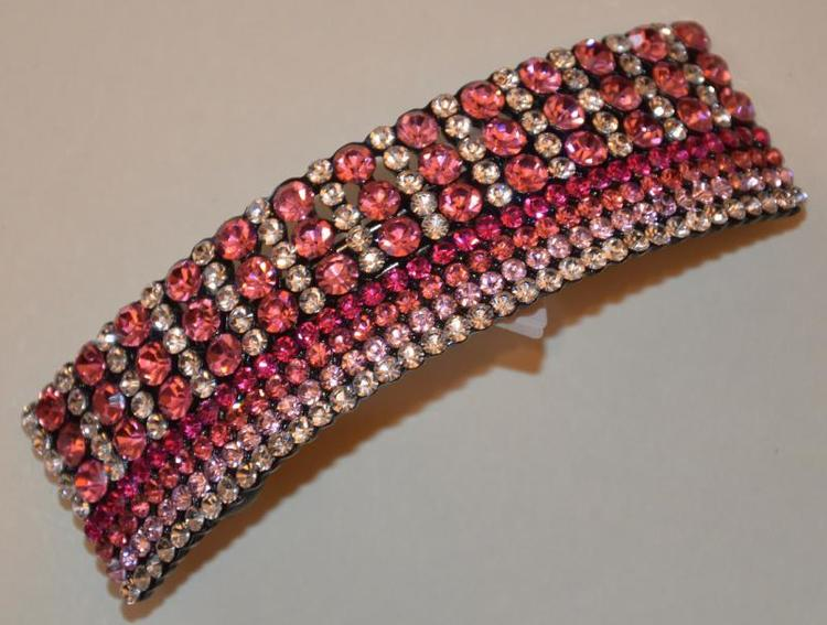 Hårspänne strass rosa ton