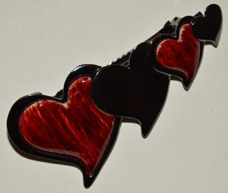 Hårspänne med hjärtan, röd