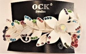 Hårspänne med blomma, mixfärger med glittrande strass