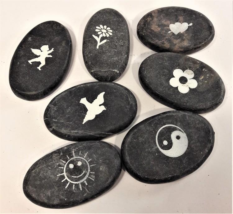 Sten med text eller bild, x1