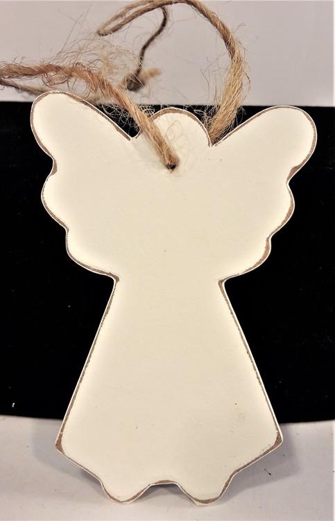 Vit ängel i trä för hängande dekoration