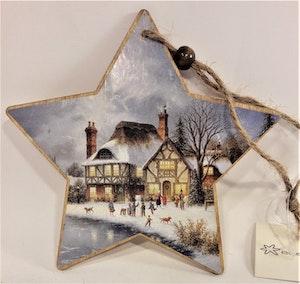 Stjärna i trä med påklistrat julmotiv