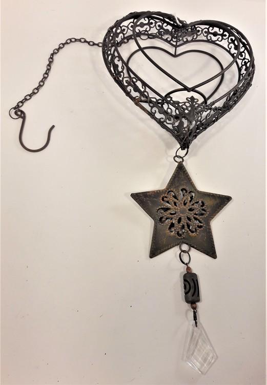 Gulligt hängande metallhjärta med stjärna, hänge och snöre
