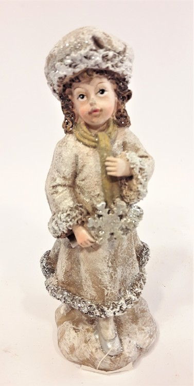 Prydnadsfigur, söt flicka med snöflinga. Detaljfull och dekorativ.