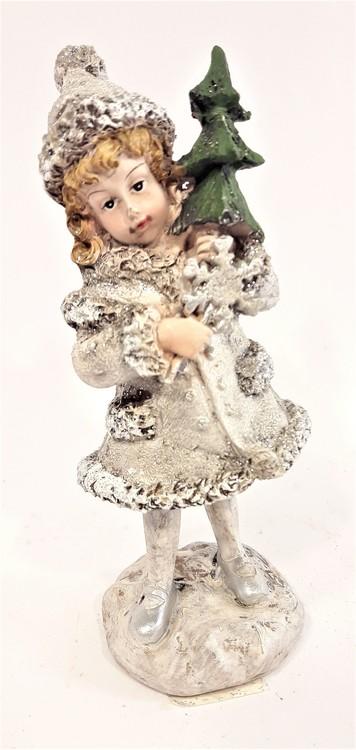Prydnadsfigur, söt flicka med snöflinga och gran. Detaljfull och dekorativ.