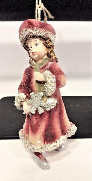 Prydnadsfigur att hänga, söt flicka med snöflinga. Detaljfull och dekorativ. Med snöre.