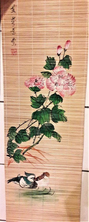 Handmålad löpare i bambu för vägg eller bord, x1