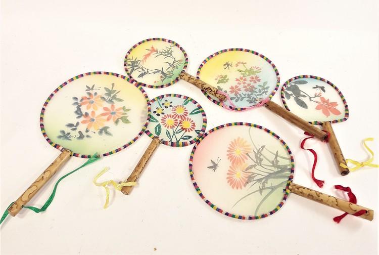 Set med små handgjorda kinesiska solfjädrar, 6 st