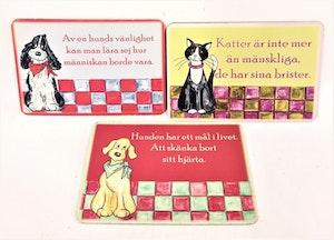 Kylskåpsmagnet med djurmotiv och text, 3 varianter