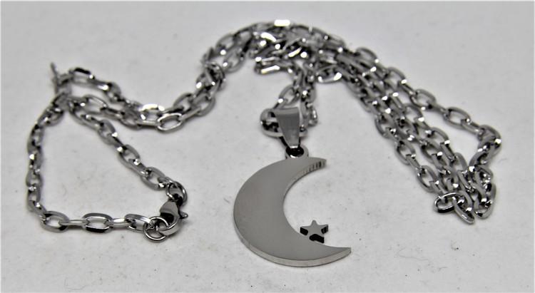 Halsband med Månskära med Stjärna Silverfärg