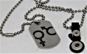 Halsband med Man och Kvinna Symbol Silverfärg och Svart