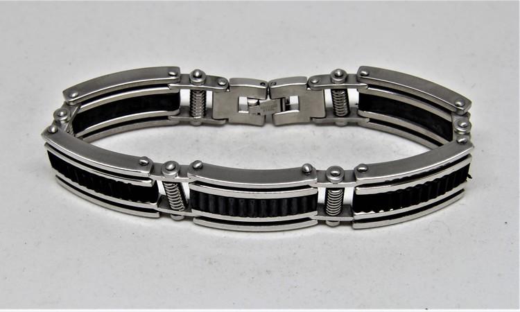 Metall Armband med Svarta Detaljer