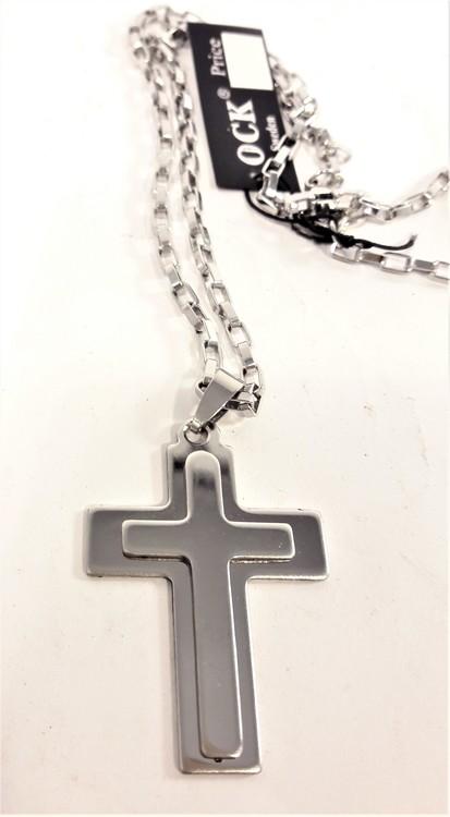 Halsband med Upphöjt Kors Silverfärg