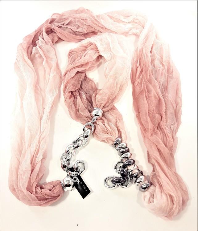 Rosa scarf med silverfärgade detaljer