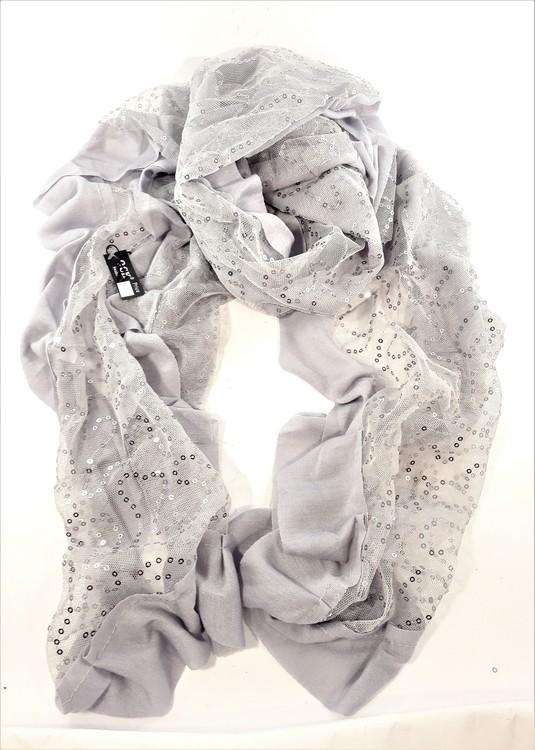 Grå scarf med glittrande paljetter