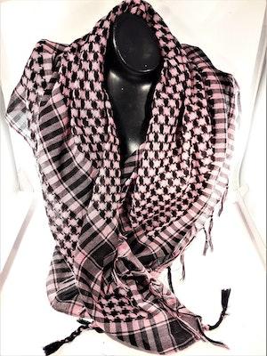 Ljusrosa-svart rutig scarf