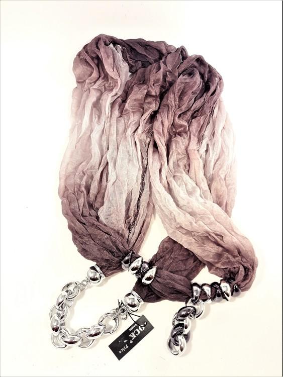 Lila scarf med silverfärgade detaljer