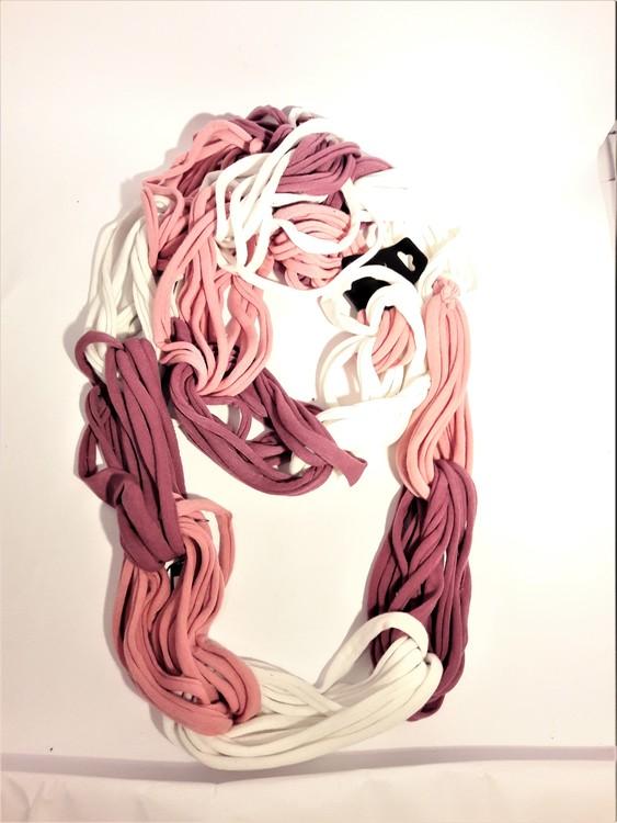 Scarf lila-vit-rosa