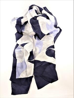 Blå-vit silkesscarf