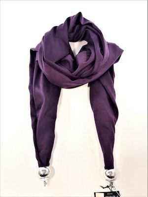 Lila scarf med silverfärgade kulor