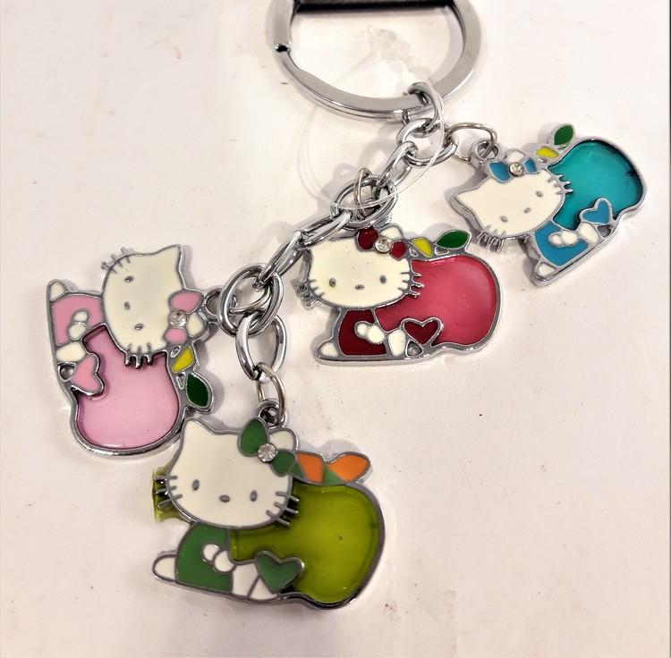 Nyckelring med Hello Kitty-motiv, 4 berlocker