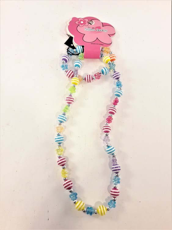Rosamix set kulor flerradigt med armband och halsband för barn