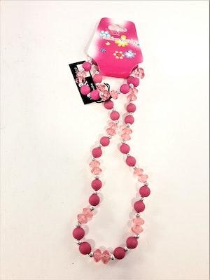 Rosa set med armband och halsband för barn
