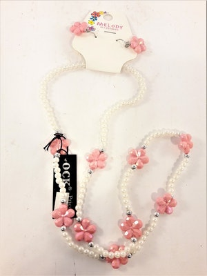 Vitt set med rosa blommor med örhänge och halsband för barn