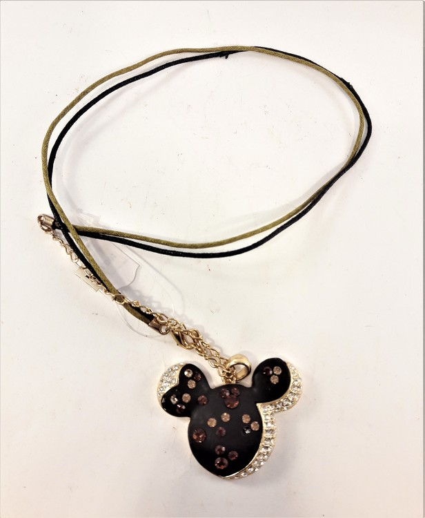 Halsband med Mimmi motiv och strass i svart och guldfärg