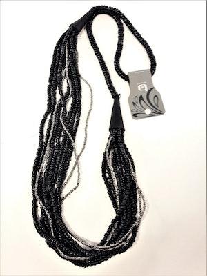 Flerradigt Halsband Svart med Detaljer Silverfärg