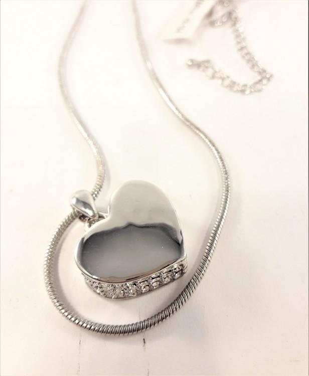 Halsband med hjärta och strass Silverfärg