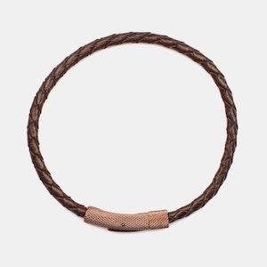 Marbella Flätat Läder Armband Brun med Spänne Rostfritt Stål